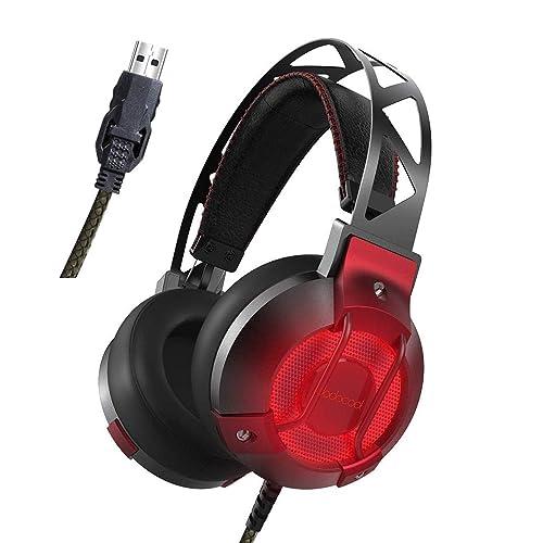 dodocool Auriculares Cascos Gaming con Micrófono Incorporado, Sonido Envolvente Virtual de 7.1, Aislamiento de