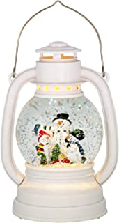 Eldnacel Christmas Snow Globe Lantern Spinning Water Glittering Snowman Scene with 6 Hours Timer, Lighted Water Globe Lantern White Snowman Family for Christmas Decorationa and Gifts(Snowman)