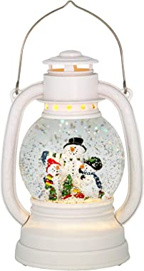 Eldnacele Christmas Snow Globe Lantern Spinning Water Glittering Snowman Scene with 6 Hours Timer, Lighted Water Globe Lantern White Snowman Family for Christmas Decorationa and Gifts(Snowman)