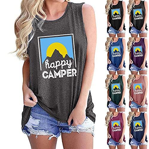 Camisola Mujer Elegante Cómodo Verano Cuello Redondo Mujer Blusa Único Patrón Diseño Mujer T-Shirts Diario Casual Transpirable All-Match Mujer Tops B-Light Grey2 XL