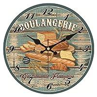 壁時計寝室のための目覚まし時計 ぼろぼろのシック、パンの壁時計、ビンテージの壁掛け時計、壁の時計の家の装飾、キッチンの壁掛け時計 (Color : Wall Clock 22, Size : 30cm)
