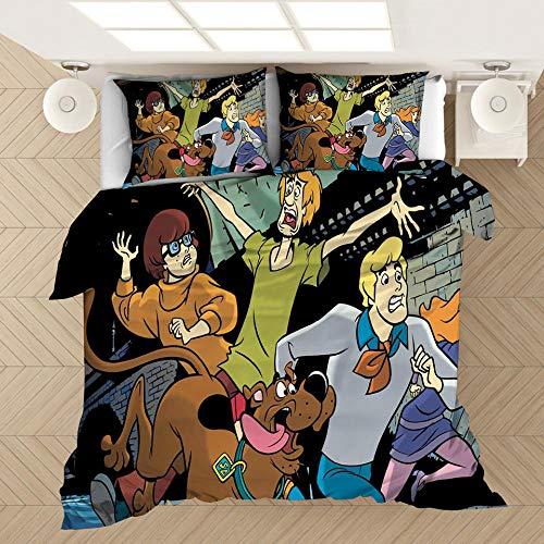 Juego de ropa de cama con funda nórdica 3D de Scooby Doo Movies, cama doble individual para adultos y adolescentes ropa de cama suave, cómoda y duradera textiles para el hogar-B_200x200cm (3 pcs)