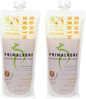 Primalvore: Organic Bone Broth for Dogs & Cats (12 Oz) - Grass Fed Beef or Free Range Chicken Flavors - Human Grade - Support Digestion, Mobility, Shiny Coat & Nails - Added Collagen & Turmeric