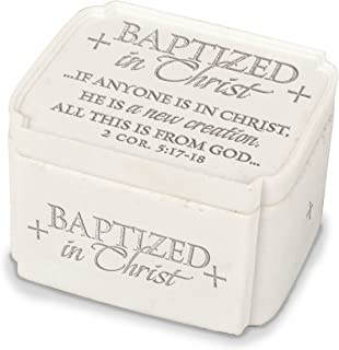 Lighthouse Christian Products Baptized in Christ New Creation White 3.5 x 2.25 Cast Stone Keepsake Box