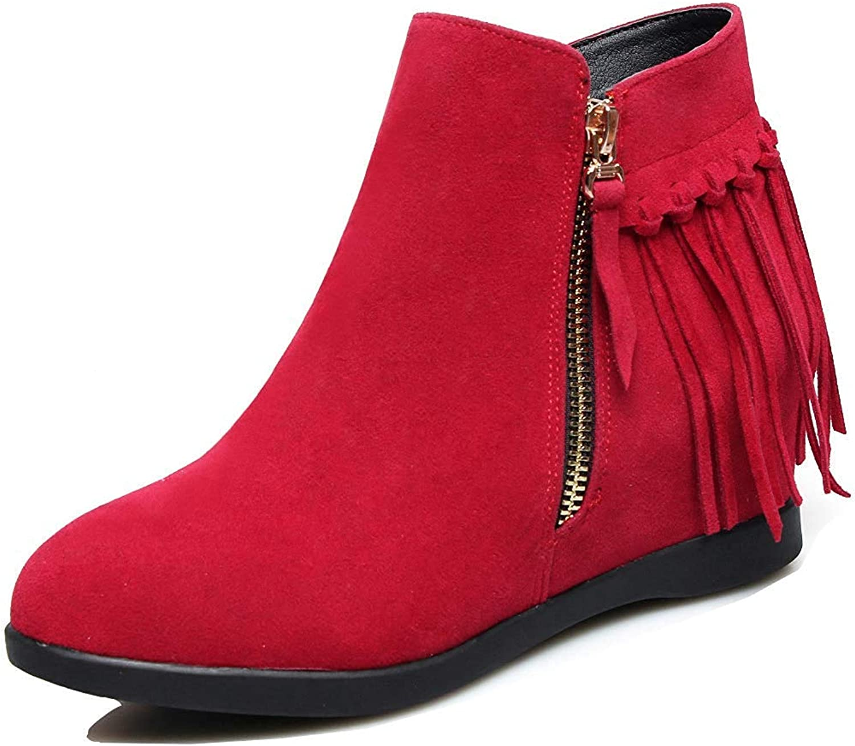 Unm Women's Cute Tassels Round Toe Elevator Mid Heel Zip Up Hidden Wedge Ankle Booties with Zipper