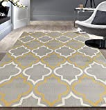 Modern Moroccan Trellis Gray-Yellow 5' X 7' Area Rug
