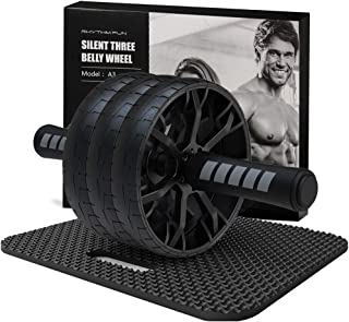 RHYTHM FUN Tri-Wheel Ab Roller Wheel with Knee Mat, Ab Roller for Abs Workout, AB Wheel Roller Kit for Abdominal Muscle Exercise, Ab Exercise Home Gym Workout Equipment for Women Men Abs Core Trainer