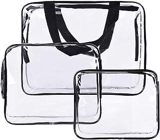 Radiya メイクポーチ 化粧ポーチ クリアポーチ ビニールポーチ 透明ポーチ ビニールバッグ 透明洗面具トラベルバッグ 多機能防水PVC 透明化粧ポーチ 3個セット