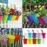 YP 10 macetas colgantes para jardín, valla, balcón, barandilla, hierro