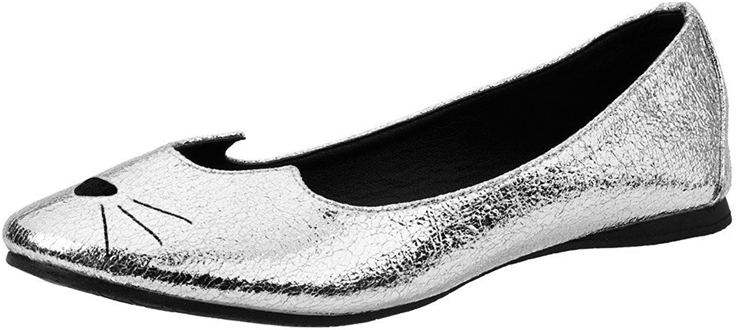T.U.K. shoes A9205L Womens Flats, Silver Crackle Sophistakitty Flat