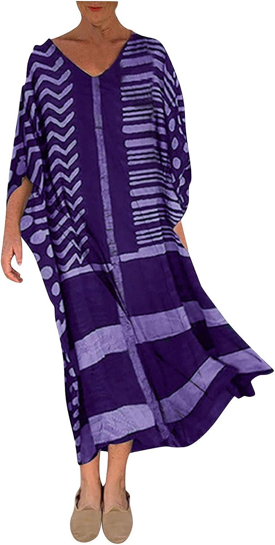 Maxi Dress for Women San Diego depot Mall Retro Loose Long Sleeve Ma