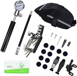 FreeLeben Herramienta De Reparación De Bicicletas, Kit De Reparación De Neumáticos Incluye Mini Bomba De Bicicleta De 210 PSI, Destornillador, Parches para Tubos De Neumáticos, Palancas De Neumáticos