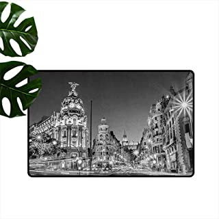 ParadiseDecor Black and White,Door mat Madrid City at Nighttime in Spain Main Street Ancient Architecture 18