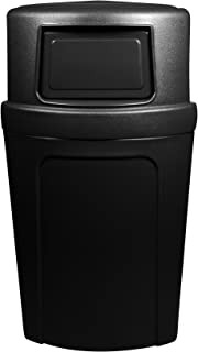 Continental 8325BK, 21-Gallon Dome-Top Corner'Round LLDPE Waste Receptacle, Quarter Round, Black (Case of 1)