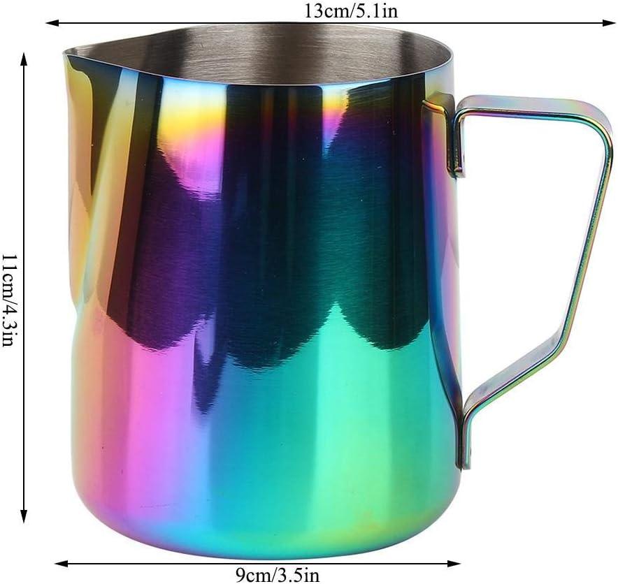 GPWDSN Pichet à café coloré en Acier Inoxydable Pot de moussage de Lait Expresso Latte Art pichet Tasse Maison (1#), Pot de café en Verre 2#