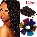 Ombre Jerry Curl Crochet Hair Bundle Marlybob Crochet Hair Jamaican Bounce Crochet Hair for Black Women Afro Water Wave Kinky Curly Twist Braiding Hair Weave 3 lots/pack Black to Dark Blue