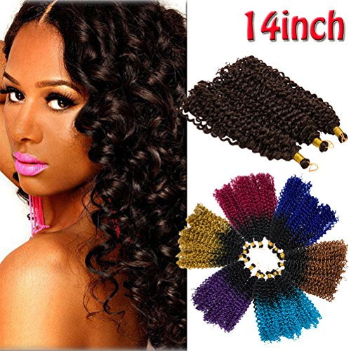 Ombre Jerry Curl Crochet Hair Bundle Marlybob Crochet Hair Jamaican Bounce Crochet Hair for Black Women Afro Water Wave Kinky Curly Twist Braiding Hair Weave 14 inch 3 lots/pack Black to Purple