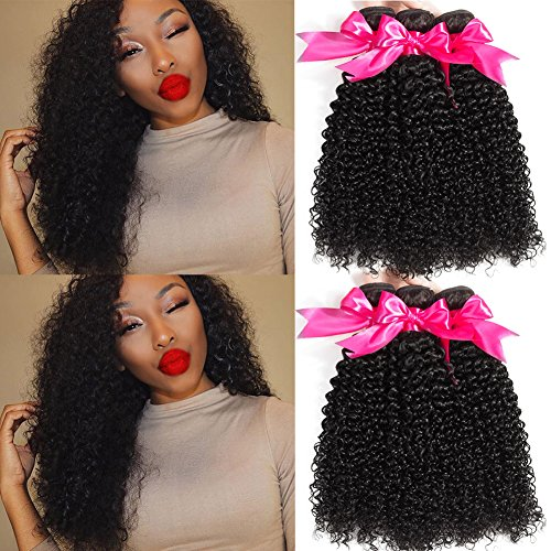 Hermosa Brazilian Curly Hair 3 Bundles Double Weft Brazilian Curly Weave Human Hair Bundles 10A Unprocessed Brazilian Virgin Hair Black Color 18 20 22inch