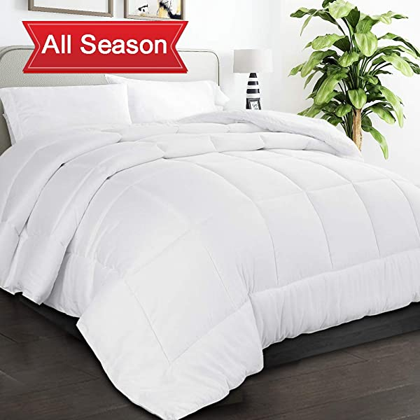 TIBOON All Season King Comforter Summer Cooling Soft Quilted Down Alternative Duvet Insert With Corner Tabs Warm Fluffy Reversible Hotel Collection White 90 By 102 Inches