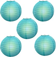 Reiki Crystal Products Lantern Paper Lamp Paper Ball Lamp Shade 12 Inch Paper Lamp for Decoration at Diwali Party Birthday Colors Sky Blue Pack of 5 pc