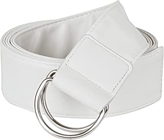 Sportmusies Dress Belt for Women Soft Ladies PU Leather Waist Belts With Double D-ring Buckle