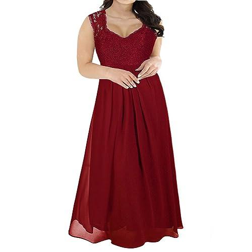 b97c7ef22d06b Nemidor Women s Deep- V Neck Sleeveless Vintage Plus Size Bridesmaid Formal  Maxi Dress