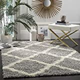 SAFAVIEH Dallas Shag Collection SGD257G Trellis Non-Shedding Living Room Bedroom Dining Room Entryway Plush 1.5-inch Thick Area Rug, 3' x 5', Grey / Ivory