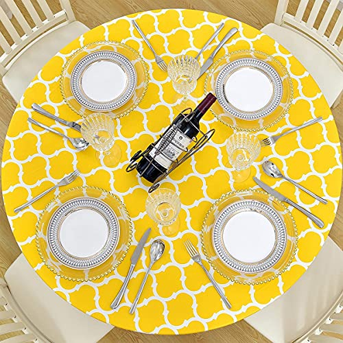 Ekotech Round Fitted Vinyl Tablecloth with Elastic Edge and Flannel Backing,Waterproof Plastic Table Cover for Outdoor, Patio, Kitchen and Dining Room(Yellow)
