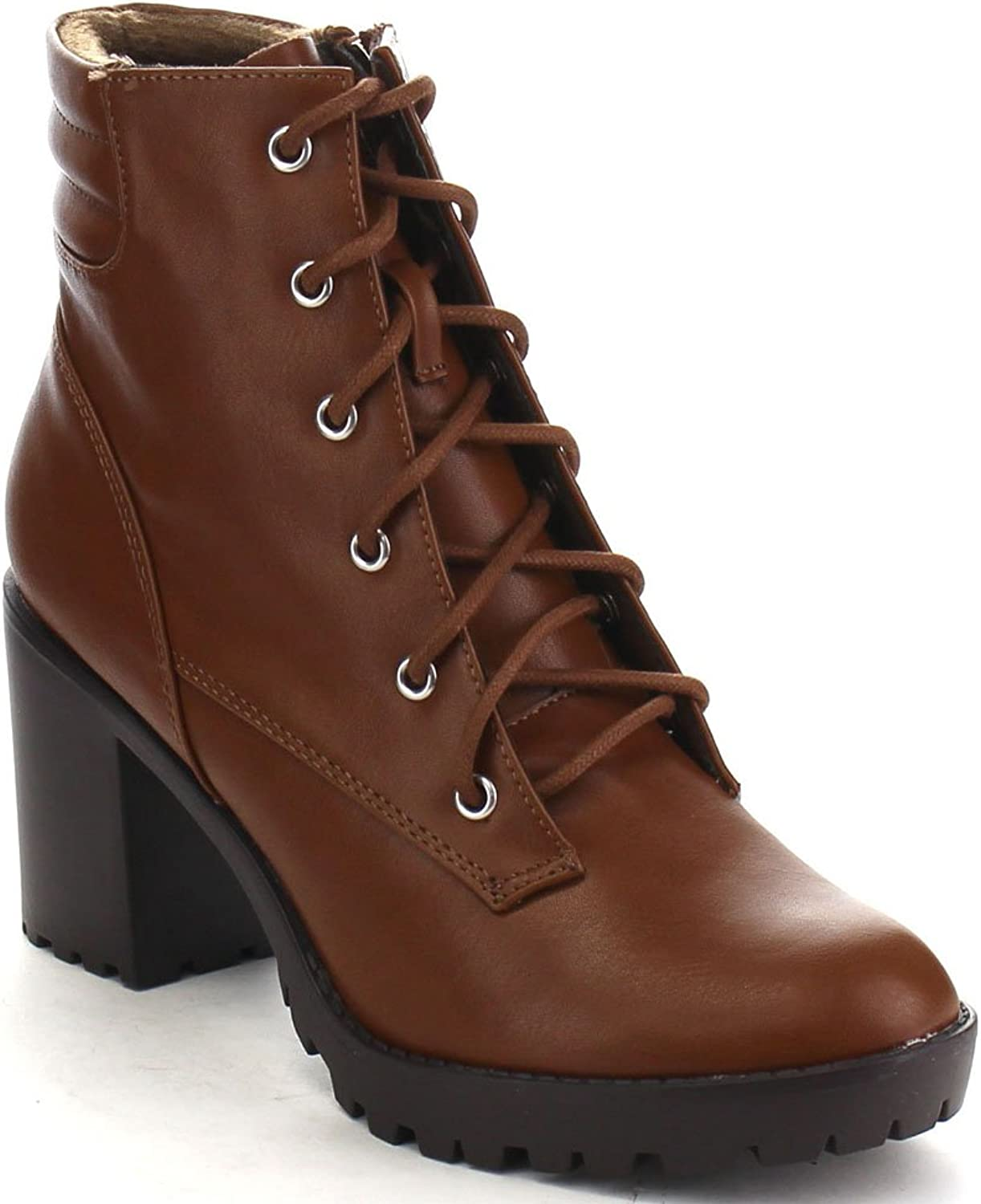 Breckelles RANGER-21 Women's Basic Block Heel Lace Up Military Ankle Booties