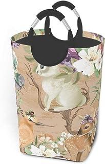 ZCHW Panier à Linge cerf Oiseaux avec bac de Rangement étanche imprimé Fleurs, Panier à Linge avec poignées Panier Organis...
