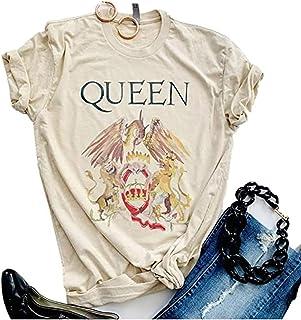 Womens Vintage Queen Shirt Summer Cute Short Sleeve...