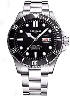 Mens Automatic Watches Classic Rotatable Bezel Stainless Steel Luxury Dress Wrist Watch with Date