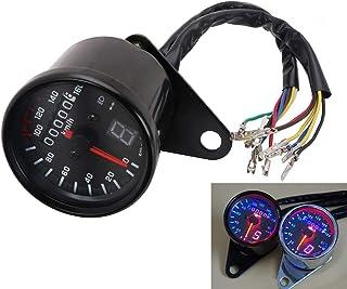 Motorcycle Cafe Racer Speedometer Odometer Tachometer LED Gauge 0-160km/h For Yamaha Suzuki Honda Kawasaki Harley Cruiser Chopper - Black