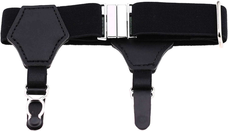 Grandiy Men's Women's Non-Slip Sock Garter Belt Holders Suspender Strap with Metal Clips 1 Pair,Double-Headed Gourd Clip Black