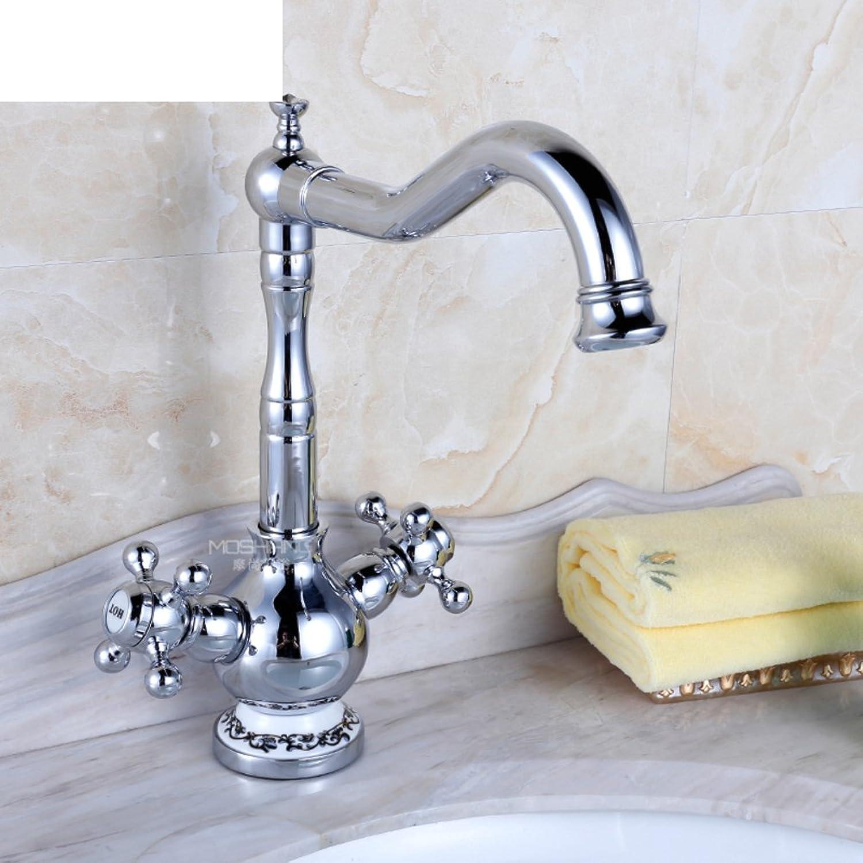 WP Antike-Wand-Küchenarmatur Im europischen Stil all-Kupfer warmen und kalten Wasserhhne Wannenhahn