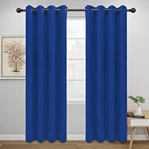 Easy-Going Blackout Curtains for Bedroom, Solid Thermal Insulated Grommet and Noise Reduction Window Drapes, Room Darkening Curtains for Living Room, 2 Panels(52x84 in,Classic Blue)