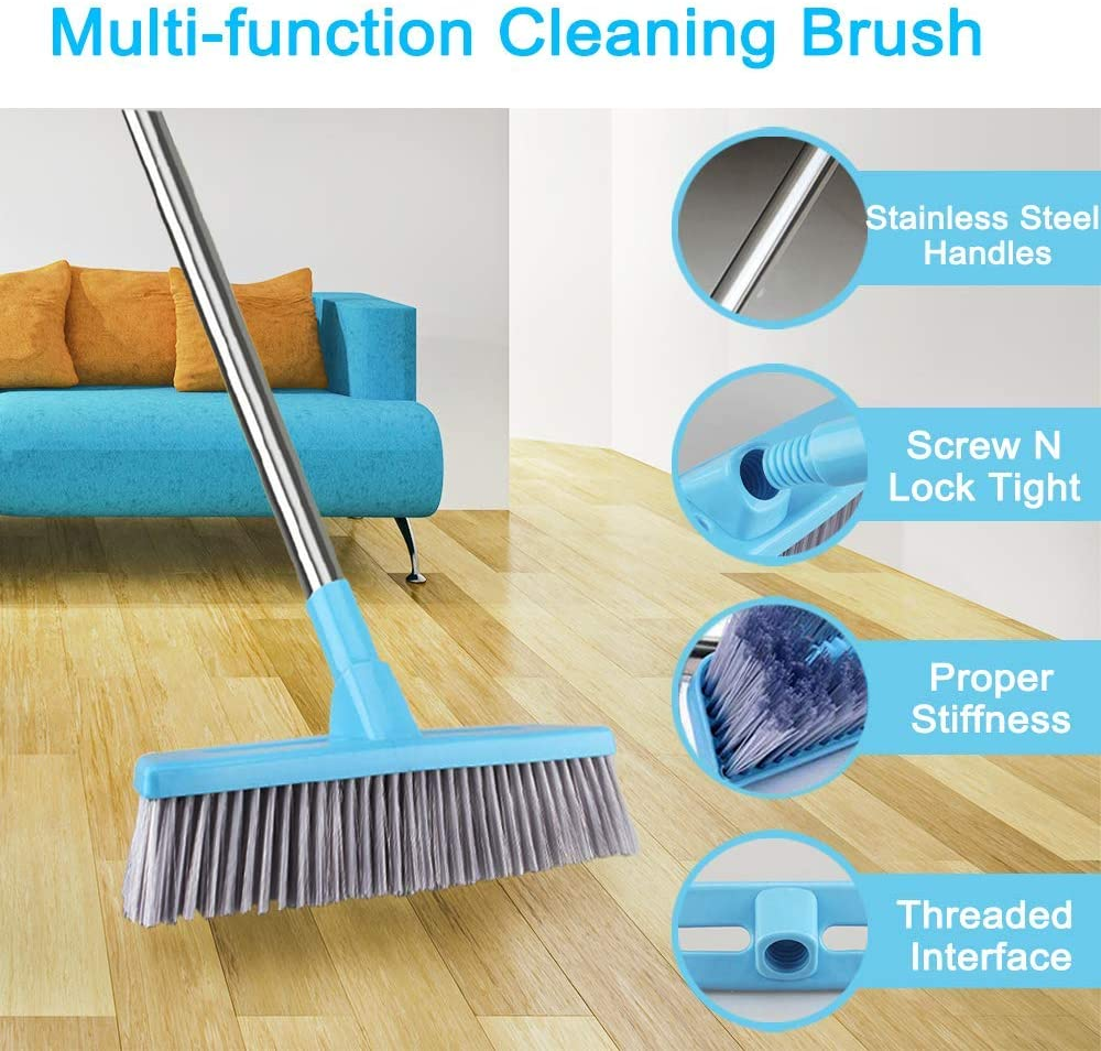 Floor Scrub Brush Push Broom with Adjustable Long Handle   9 inches, Stiff  Bristles, Indoor Outdoor Broom for Cleaning Bathroom Kitchen Patio Tile ...