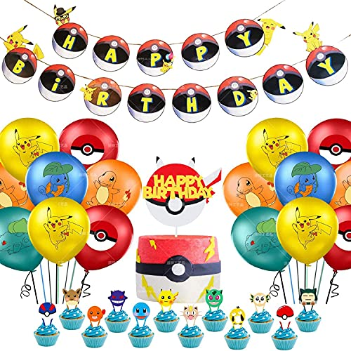 Juego de suministros de fiesta de cumpleaños de Pokemon Pi-Kachu para decoración de fiesta pancarta de feliz cumpleaños, globos, decoración para tarta de bolsillo con temática de monstruos
