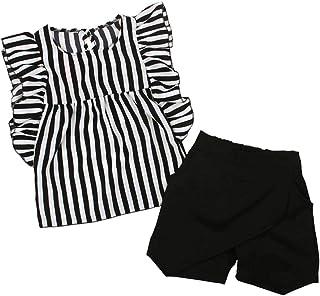 Conjunto de Ropa de Verano - Playera sin Mangas a Rayas y Pantalones Cortos Negros - para niñas