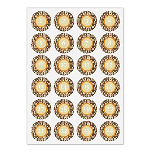 24 elegante Advents stickers met de cijfers 1-24 met grafisch frame, oranje beige, matte universele papieren stickers voor adventskalender, kerstcadeaus, etiketten voor tafeldecoratie (ø 45 mm)