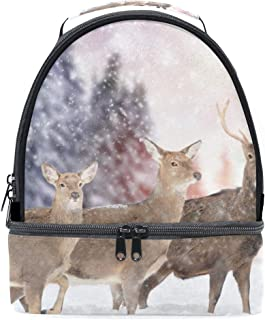 Mydaily Kids Lunch Box Winter Deer Reusable Insulated School Lunch Tote Bag