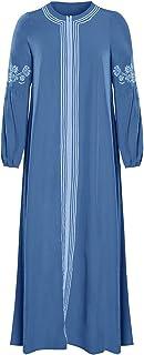 فساتين إسلامية فستان طويل الأكمام للنساء المسلمات العربيات في الشرق الأوسط فستان طويل مطبوع عليه أزهار