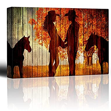 Wall26 - Country Scene with the Silhoutte of Horses and A Couple Holding Hands - Canvas Art Home Decor - 24x36 inches