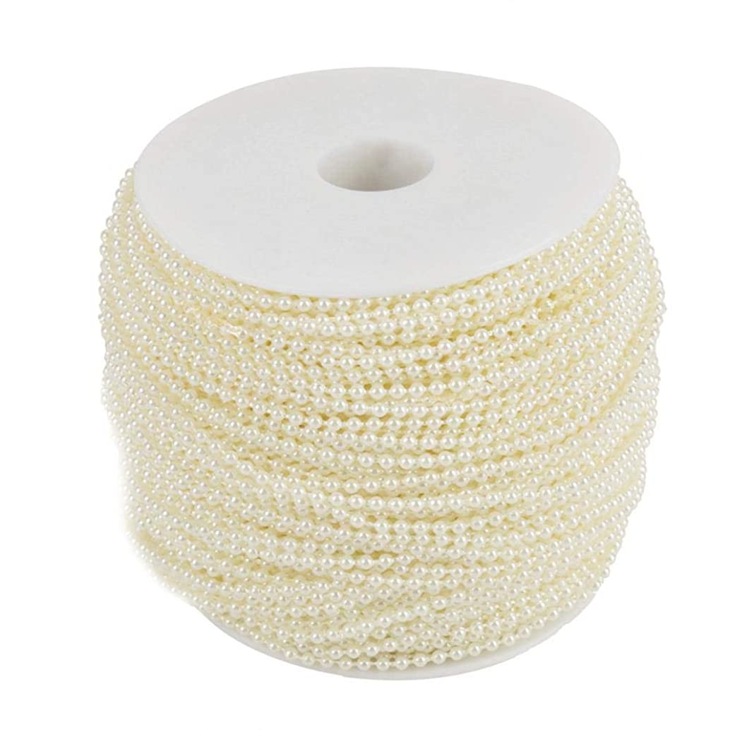 Pearl Bead Roll, 100m/Roll Imitation Pearl Wire Beads String for Wedding Centerpieces Party Garland Bridal Bouquet Crafts Decoration 2.5mm(Beige)