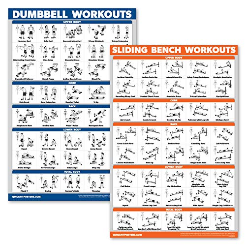 """QuickFit 2 Pack - Dumbbell Workouts and Sliding Bench Exercise Poster Set - Compatible with Total Gym & Weider Ultimate Body Works (Laminated, 18"""" x 27"""")"""
