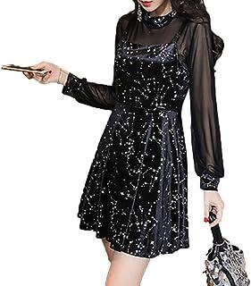 [CAIXINGYI]秋 服 レディース 気質 衣服 セクシー ロングスリーブ スリム ブラック レディース ドレス 星空 スカート