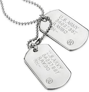 COOLSTEELANDBEYOND ClassicaDue Pezzi Militare Esercito Dogtag Ciondolo, Collana con Pendente da Uomo, Palla Catena 70CM