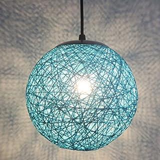 STOEX Rétro Suspension Luminaire en Rotin Globe Rond 20cm, Lustre Abat-jour DIY Lampe Plafond E27 pour Salon Restaurant Ce...