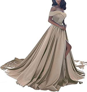 Women's Formal Off The Shoulder Satin Prom Dresses Long for Women Evening Gowns with Pockets Champagne 22W