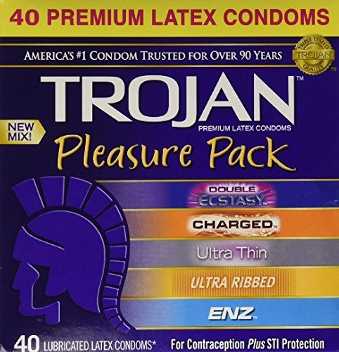 Trojan Condom Pleasure Pack Lubricated, 5 Different Types! 40 Condoms (1 box) by Trojan